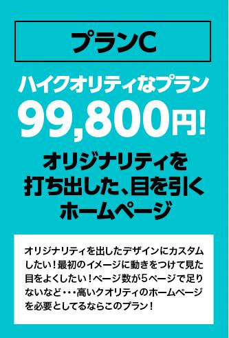 プランCハイクオリティなプラン99,800円!オリジナリティを打ち出した、目を引くホームページ